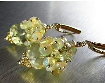 25 OFF Lemon Quartz With Ethiopian Opal Cluster Gold Filled Earrings