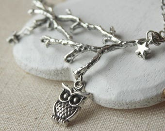 Silver Owl Necklace, bird on a branch pendant, antiqued silver plated, choose your own length N95