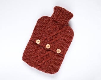 Hot water bottle cover / sweater - 90 per cent Wool / 10 per cent Silk - Russet. Hand Knit Bottle Cosy / Cozy.