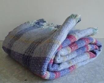 wool plaid blanket, made in scotland, wool throw afghan, purple and red plaid tartan, vintage wool blanket, vintage wool throw, picnic throw