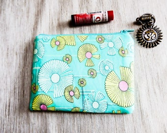 Floral Coin Purse, Change Pouch, Zipper Pouch, Fabric Pouch, Gift for Her, Small Pouch, Pouch, Cotton Pouch, Amy Butler Wind Flower Blues