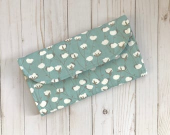 Blue and White floral Diaper Clutch with Changing Pad - Gender Neutral - Gray - Boho Baby - Bohemian - Baby Shower Gift - Boy Girl