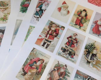 Four Handmade Pages of Vintage Look Christmas/Holiday Themed Stickers - Paper Ephemera