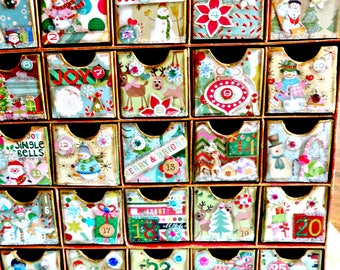 Advent Calendar Box-Christmas Countdown-25 Days to Christmas-Christmas Treat Box-Fillable Advent Boxes-Holiday Decor-Christmas Gifts-Advent