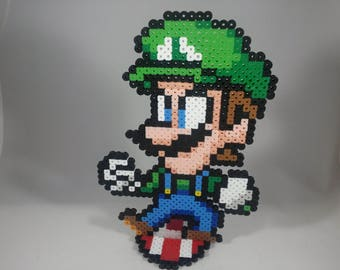 Luigi - Super Mario Bros - Nintendo Super Smash Bros - Perler Bead Sprite Pixel Art Figure Stand or Lanyard Necklace