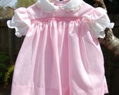Vintage Baby Clothes, Baby Girls Dress, Pink and White Cotton, Smocked Top Dress, 3 to 6 mo, Vintage Baby Girl, Baby Togs , Gift for Baby