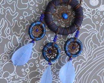 Attrape Rêves, bleu à plumes - Dream Catcher, blue with feathers