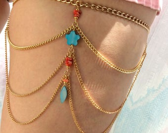 Coral and Turquoise Thigh Chain on Gold Chain