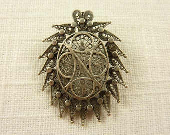 Vintage Sterling Filigree Persian Brooch or Pendant