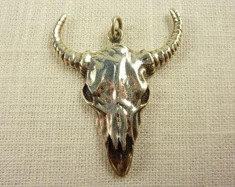 Vintage Sterling Bull Skull Pendant