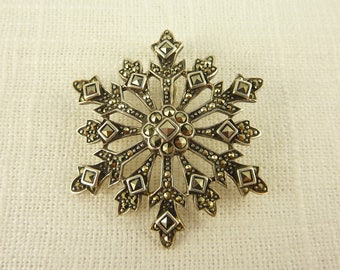Vintage Sterling and Marcasite Snowflake Enhancer Pendant
