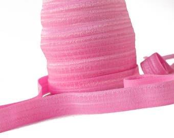 "5 Yards Bubblegum Pink : 5/8"" inch FOE Fold Over Lingerie Elastic Baby Headbands Hair Ties"