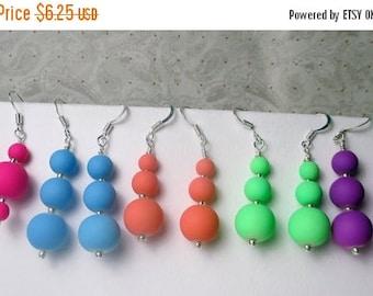SALE, 50%, Neon silicon rubber beaded earrings, drop earrings, bright summer colors, holiday earrings, dangle beaded earrings, green orange