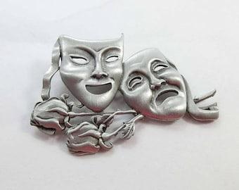 SALE Comedy Tragedy Brooch Pin Happy Sad Face Mask JJ Jonette SilverTone Signed 9175