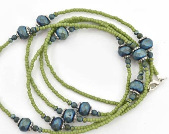 Green and Blue Seed Bead Single Strand Beaded Necklace
