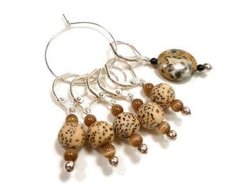 Locking Removable Stitch Markers Crochet Beaded Leopard Print Row Markers Knitting Supplies DIY Crafts