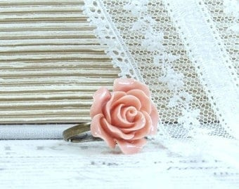 Salmon Pink Rose Ring Romantic Ring Pink Floral Ring Vintage Style Ring Adjustable Ring Pink Rose Jewelry