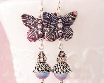 Butterfly Earrings - Silver - Victorian Jewelry - Pearl - ON the WING Blue
