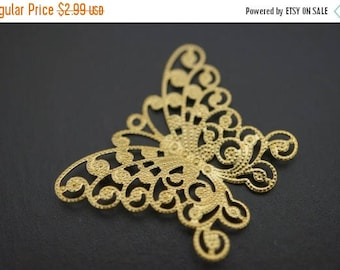 SUMMER CLEARANCE Raw Brass Monarch Butterfly Filigree Charm Pendants - 35mm x 25mm - 10 pcs