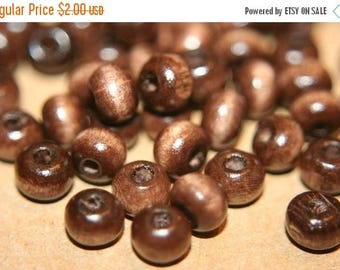 SUMMER CLEARANCE SALE - Round Shape Espresso Brown Rosary Wood Beads - 6mm - 100