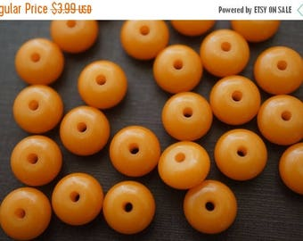SUMMER SALE Rich Honey Amber Made with Natural Resins Flat Round Rondelle Beads - 8mm x 4.5mm - 30 pcs over 5 Inches Long