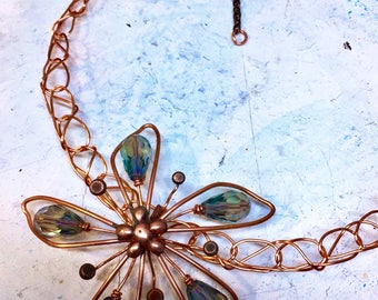 Flower necklace, statement, crocheted, copper, crystal
