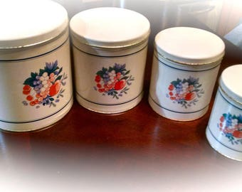 Canister Set / Vintage Metal Canisters /  Ballonoff Canisters / Fruit Pattern / Kitchen Decor / Food Storage / Retro Containers