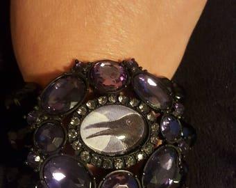 Huge crow raven glass cameo upcycled rhinestone bracelet