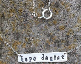 Hope dealer silver bar necklace