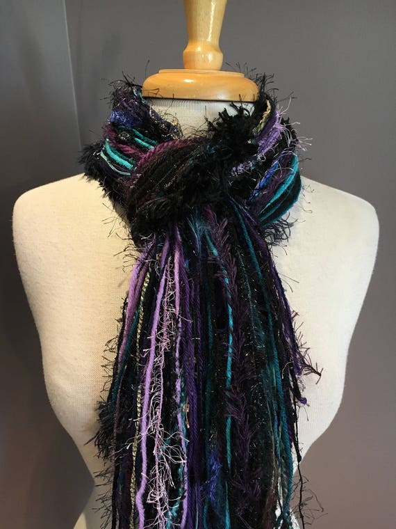 Fringie in Nightlight, All Fringe Scarf - Multitextural hand-tied scarf, purple, aqua, blue, black, yarn scarves, boho chic, ribbon scarf