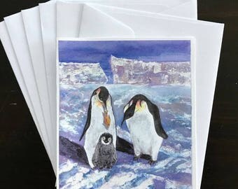 Christmas Cards, Penguin Family,Watercolor Print,Icy Terrain,Snow Covered, Winter,Fish, Antarctic,Blank Writing Surface,