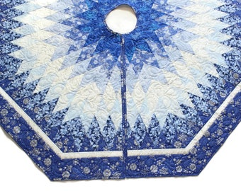 Blue Christmas Tree Skirt Quilt - 60 inch Blue Silver and White Quilted Tree Skirt, Elegant Snowflakes Quiltsy Handmade, Diamonds All Around