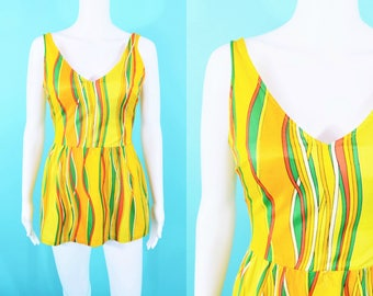"1970s stripe onepiece | yellow orange green striped skirted bathing suit | vintage 70s swimsuit | W 24""+"