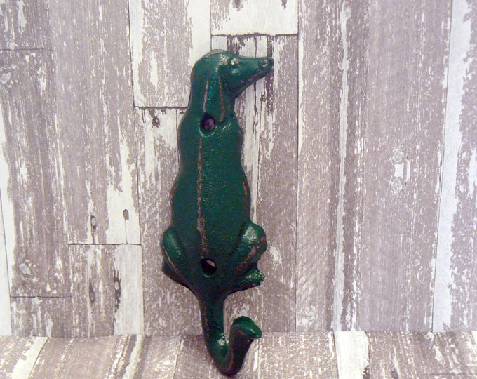 Dog Hook Cast Iron Shabby Chic Primary Green Leash Hook Home Decor