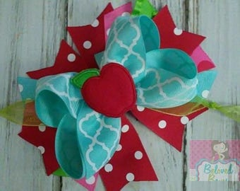 Back To School Layered Hair Bow, Back to School Apple Bow, Apple Hair Bow, Boutique Hair Bow, Spikey Hair Bow