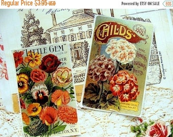 ON SALE 4 Self Adhesive Vintage inspired Seed Packet Stickers