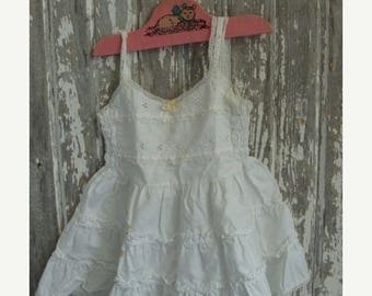ONSALE Vintage Stained Frilly Ruffled Farmhouse Baby Girl Dress Slip 244