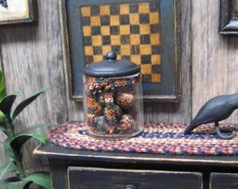 Miniature Dollhouse Rag Balls Canister Primitive Jar