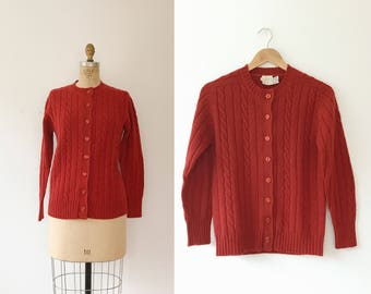 Persimmon Cable Knit cardigan / wool sweater / vintage wool cardigan