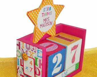 Teacher Gift Wood Block Perpetual Calendar Personalized Star Teacher