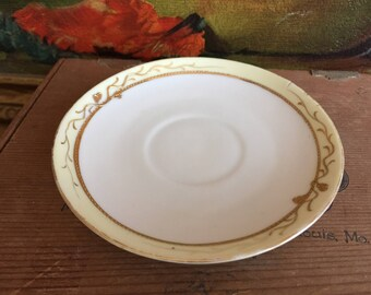 Gold and Yellow Saucer Plate  Vintage White Ceramic