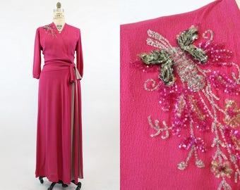 40s Dress Sequin Medium  / 1940 Vintage Gown Rayon / Butterfly Bi Color Dress