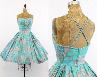 50s Hawaiian Dress Small / 1950s Criss Cross Back Cotton Dress / Hibiscus Sands Dress