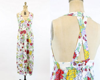 70s Maxi Dress Halter Small / 1970s Cotton Floral Dress /  Bouquet Dress
