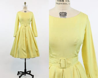 50s Dress Phyllis De Trano XS / 1950s Raw Silk Dress / Chartreuse Dress
