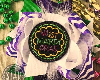 My First Mardi Gras Hair Bow - Over the Top Hair Bow - Mardi Gras Bow - My First Fat Tuesday Hair Bow