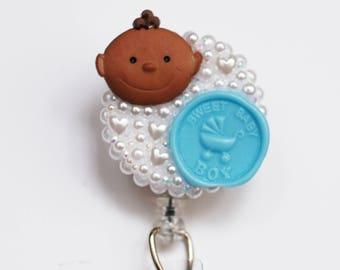 Sweet Baby Boy ID Badge Reel - Retractable ID Badge Holder - Zipperedheart
