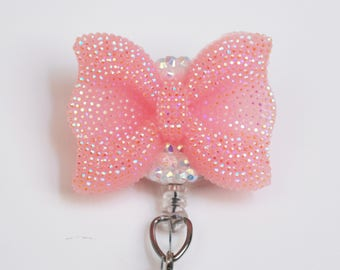 Soft Pink Shimmery Bow ID Badge Reel - Retractable ID Badge Holder - Zipperedheart