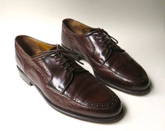 Johnston & Murphy vintage Domani Brown Leather Oxfords / Johnston and Murphy Leather Dress Shoes / Professional Work Attire / made in Italy