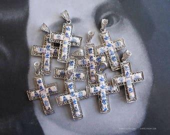 Necklace Silver Filigree Cross Portugal Tiles Azulejos Delft Tiles Portuguese Filigrana Porcelain Gift Ships from USA